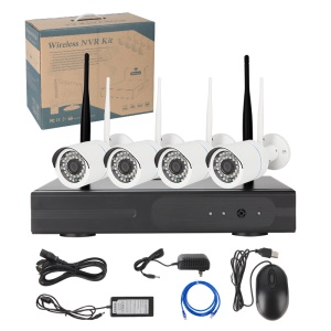 SV3C 720P 4CH WiFi NVR Kit with 4 x 1.0MP Outdoor IP Cameras IR 20m Support P2P APP (WK6032W-4CH) - EU Plug