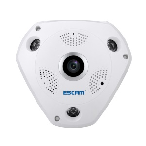 ESCAM Shark QP180 WiFi 960P IP Camera 1.44mm Fisheye Lens Support VR APP - UK Plug