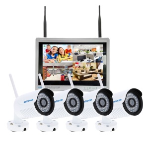 SINOCAM 12.5-inch LCD 960P 4CH WiFi NVR Kit with 4 x 2.0MP Outdoor IP Cameras (SN-NVK-9036W13) - EU Plug