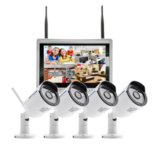 SINOCAM 12.5-inch LCD 4CH 960P WiFi NVR Kit with 4 x 2.0MP Outdoor IP Cameras (SN-NVK-9136W13) - EU Plug