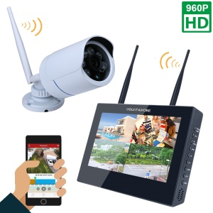 10-inch LCD Monitor 4CH 960P Wireless DVR Video Security System with 1PC Bullet IP Camera (SY1003FD11) - EU Plug