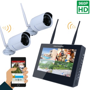 10-inch LCD Monitor 4CH 960P Wireless DVR Video Security System with 2 x Bullet IP Camera (SY1003FD12) - EU Plug
