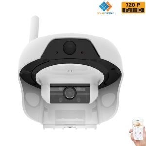 FREECAM Solar Powered Wireless WiFi Security Camera 720P IP55 Waterproof IP Network Web Cam - White