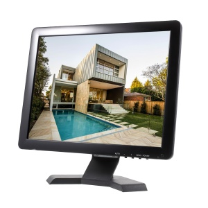T15 15-inch 4:3 LCD Display with HDMI/VGA/AV/TV Input for CCTV Monitor - US Plug