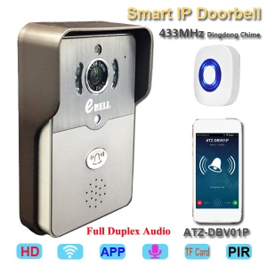 ATZ E-BELL control remoto inalámbrico WIFI 1.0MP HD 720p Smart Video timbre (ATZ-DBV01P-433MHz) - enchufe de la UE