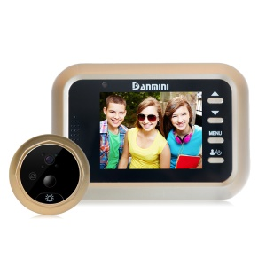 DANMINI Q8 2.4-inch Color Screen No Disturb Smart Door Bell Peephole Viewer Support PIR Function - Gold Color