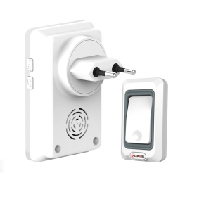 Wireless Doorbell Chime Kit, 1 Receiver and 1 Push Button with 28 Chimes - White / EU Plug