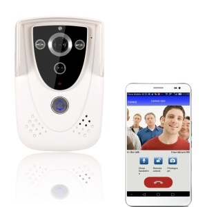 1.0MP 720P WiFi Wireless Video Door Phone Doorbell Intercom with GSM Function Support P2P APP (SYWIFI005W) - White / EU Plug