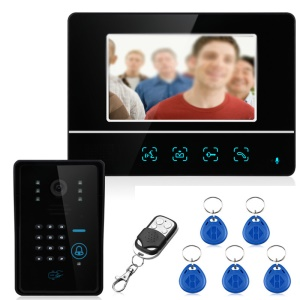 7.0-inch LCD Touch Monitor Wired Video Intercom Door Phone System Doorbell 1 Camera 1 Monitor Support Keypad Password RFID Card Remote Unlock (SY811MJIDS11) - EU Plug