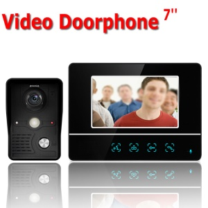 7.0-inch LCD Monitor Wired Video Intercom Door Phone System Doorbell 1 Camera 1 Monitor (SY811MKB11) - EU Plug
