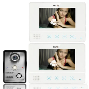 7.0-inch LCD Monitor Wired Video Intercom Door Phone System Doorbell 1 Camera 2 Monitors (SY811MKW12) - EU Plug