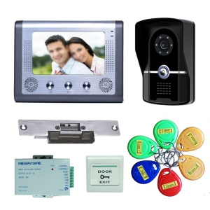 7 inch LCD Display Video Door Phone Intercom System with ID Cards + Electric Strike + Power Supply + Door Bell 801FGID11 - EU Plug