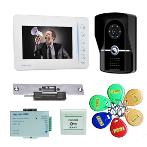 "7"" LCD Monitor Wired Intercom Doorbell System with Camera+Cards+Cathode Lock+Access Control Power Supply+Exit Button - UK Plug"