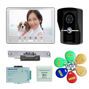 7 inch LCD Display Video Door Phone Intercom System with ID Cards + Electric Strike + Power Supply + Door Bell 815FGID11 - UK Plug