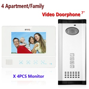 4 Units Apartment/Family 7.0-inch Monitor Video Door Phone Intercom System 1 Camera 4 Monitors (SY811WMH14) - EU Plug