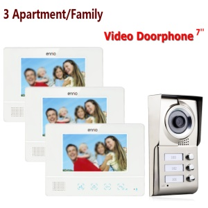 3 Units Apartment/Family 7.0-inch Monitor Video Door Phone Intercom System 1 Camera 3 Monitors (SY811WMC13) - EU Plug