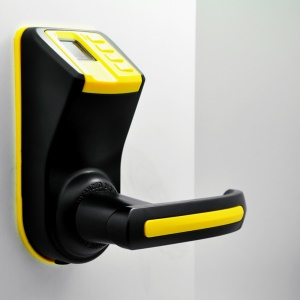 LS-9 DIY Fingerprint Door Lock with Password and Mechanical Key - Yellow + Black