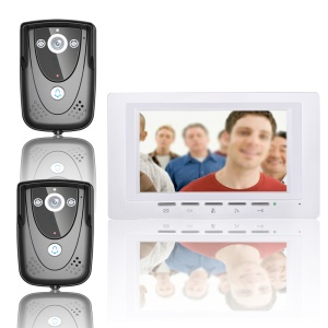 7-inch Wired Video Intercom Door Phone System Doorbell 2 Cameras 1 Monitor Night Vision (SY817FCB21) - EU Plug