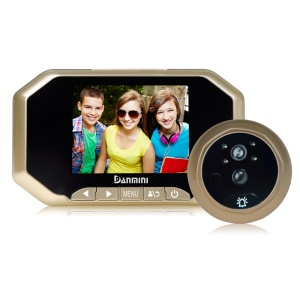 "DANMINI 3.5"" TFT PIR Motion Door Peephole Viewer Camera with Night Vision Function (YB-35AHD) - Gold Color"