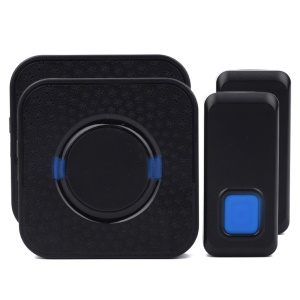 N6S 300m Wireless Doorbell Kit 2 Transmitters + 2 Plug-in AC Receivers 55 Chimes - Black / EU Plug