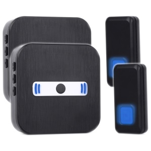 N8 Wireless Doorbell Kit 2 Push Button Transmitters + 2 Plug-in AC Receivers - Black / US Plug