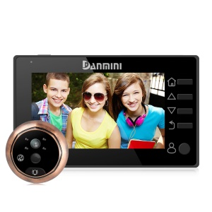 "DANMINI 4.3"" LCD HD Digital Viewer Peephole Doorbell Camera 160° PIR Door Eye (YB-43CHD-M) - negro"