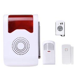 YA-302 Wireless Voice Acousto-optic Site Alarm Home Security Alarm Detector Welcome Bell - EU Plug
