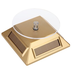 Solar Powered Rotary Watch Jewelry Display Stand Turntable - Gold