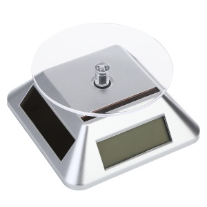 Solar Powered LCD Screen Display Stand for Jewelery Diamante Mobile Phone (ZTY-003) - Silver Color