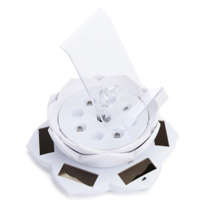 Lotus Shape Solar Powered Rotating Exhibition Stand with LED and Phone Holder ZTY-006 - White