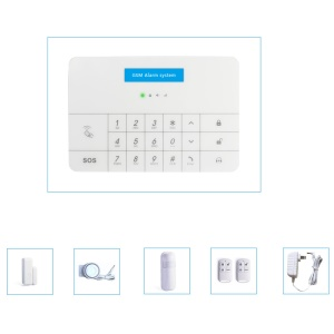 PG-100A 433MHz Touch Screen GSM Alarm System with Digital Touch Keypad, Wireless PIR Detector, Wireless Door Sensor, 2PCS Remote Controllers, Siren - EU Plug