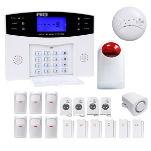 DANMINI 433MHz Wireless Intelligent LED Display GSM Security Alarm System with Host, Wireless PIR Detector Etc (YA-500-GSM-33) - EU Plug