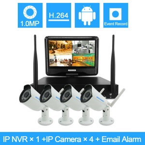 "SZSINOCAM 4CH 720P NVR Kit with 10.1"" Screen and 4pcs IR 30m Outdoor IP66 IP Cameras (SN-NVK-5004M10) - EU Plug"
