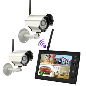 2.4G Wireless 7 inch TFT Digital 4CH Monitor with Two IR Cameras DVR Kit Security System (SY602D12) - EU Plug