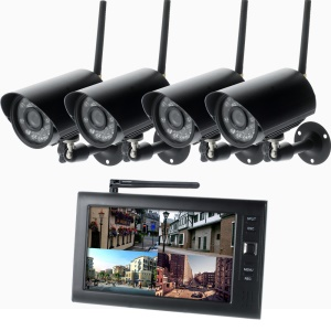 2.4G 7-inch TFT LCD 4CH Digital Wireless Camera & DVR Security System (SY828W14) - EU Plug