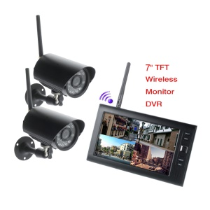 2.4G 7-inch TFT LCD Digital 2.4G Wireless Monitor 4CH DVR + 2 Cameras (SY828W12) - AU Plug