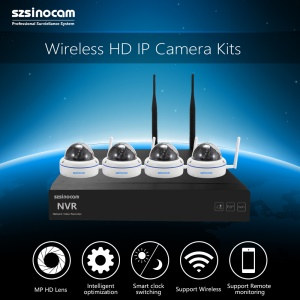 SZSINOCAM 4CH 720P 2.4G Full WiFi NVR Kits with 15M IR Distance Support P2P APP (SN-NVK-4006W10) - EU Plug