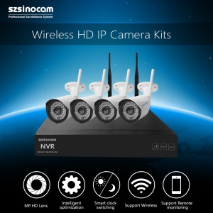 SZSINOCAM 4CH 720P 2.4G Full WiFi NVR Kits with 20M IR Distance Support P2P APP (SN-NVK-4005W10) - EU Plug