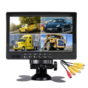 4 Split Screen 7-inch 800x480 TFT LCD Car Vehicle Monitor with Remote Control (JSW7080-DC4H)