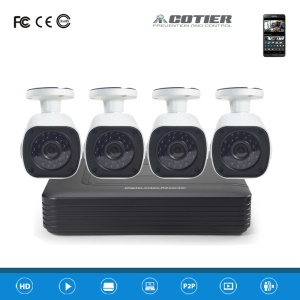 COTIER 4CH 1080P AHD DVR Kits, 1PC DVR + 4PCS AHD Camera (A4B6/Kit-2MP) - PAL / EU Plug