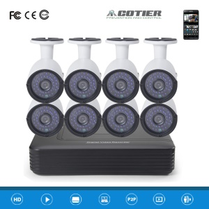 COTIER 8CH 1080P AHD DVR Kits, 1PC DVR + 8PCS AHD Camera (A8B2/Kit-2MP) - PAL / EU Plug