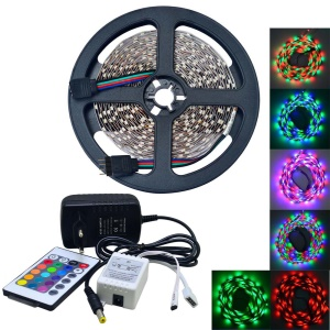 JIAWEN 5M 25W 300x3528 SMD RGB LED Flexible Strip Light with 24-key Remote Controller and 2A Power Adapter - US Plug