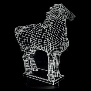 Creative 3D Horse Design Art Sculpture Visualization LED Night Light - Black Base / White Light