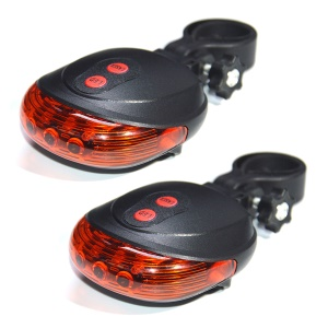 YOUOKLIGHT YK1519 5LEDs 2-Laser 7-Mode Cycling Laser Beam Tail Light 2PCS
