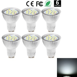 6PCS YK1629 Cool Branco GU10 7.5W Lâmpada LED Spotlight 720lm 15-SMD - Branco Legal