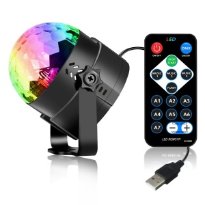 YOUOKLIGHT YK2279 Portable Remote Control 3-LED USB Sound Active LED Rotating Magic Ball Light with Stand