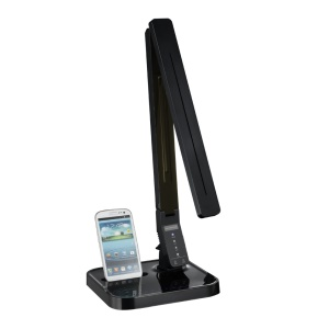 Eye-caring LED Desk Lamp with Android Charging Dock Station Touch Control 11W - Black / EU Plug