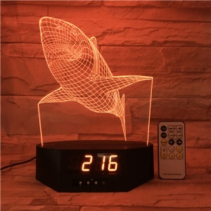 SZ073 White Shark Pattern 3D LED Night Table Light Illusion Lamp Color Changing Desk Light with Clock