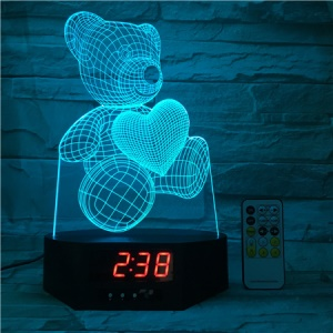 SZ136 Lovely 3D Bear Love Heart 3D Illusion Lamp Remote Control Color Changing Night Light with Clock