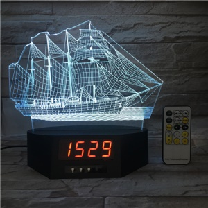 SZ183 Remote Control 3D Sailing Boat 3D Illusion Lamp Color Changing Table Lamp with Clock